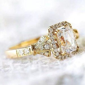 new Gold Plated Shiny CZ Stone Ring